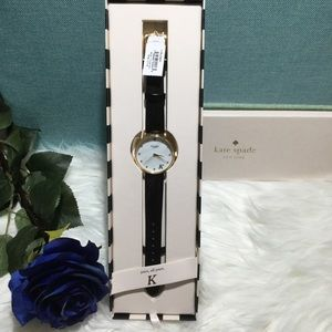 "💎Kate Spade ""K"" black leather watch NWT"